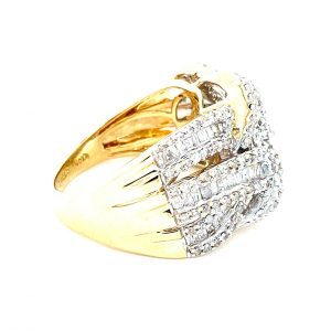 Estate Ribbon Overlap Diamond Ring