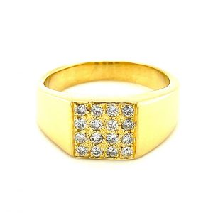 Estate Men's Diamond Signet Style Ring