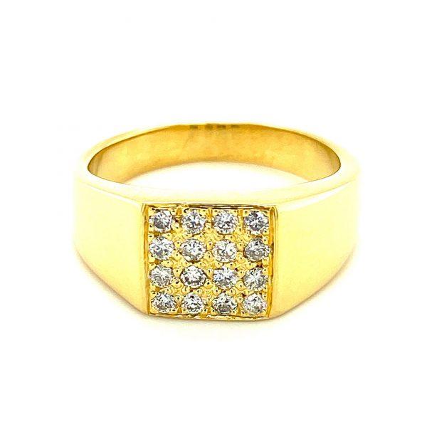 Estate Men's Diamond Signet Style Ring