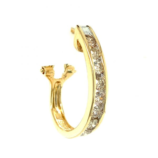 Estate Channel Set Diamond Hoop Earrings