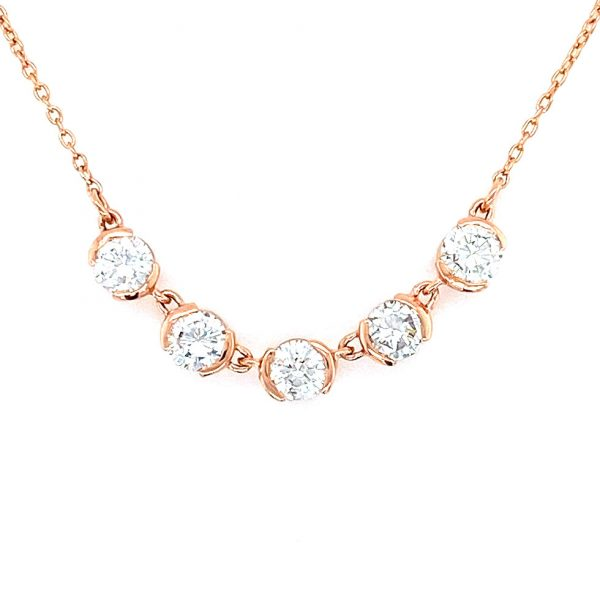 Custom Estate Diamond Half Bezel Necklace