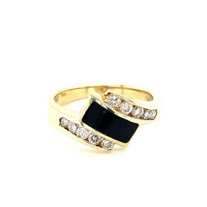 Estate Onyx Inlay and Diamond Ring