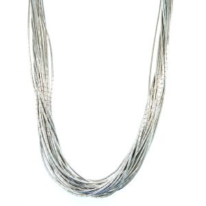 Estate Twenty Strand Liquid Silver Necklace