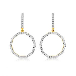 Decagon Shape Dangle Diamond Huggies