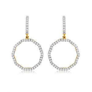 Decagon Shape Dangle Diamond Huggies