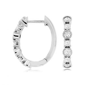 Diamond Milgrain Oval Hoops