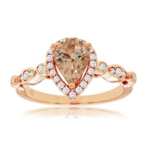 Pear Shape Morganite and Diamond Halo Ring