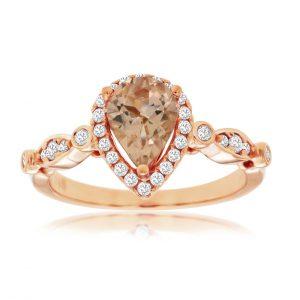 Pear Shape Morganite and Diamond Halo Ring