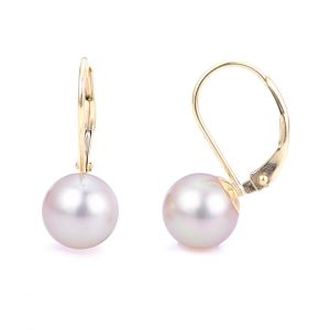 Round White Freshwater Pearl Drop Earrings