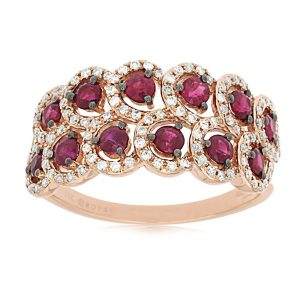 Ruby and Diamond Double Row Ring