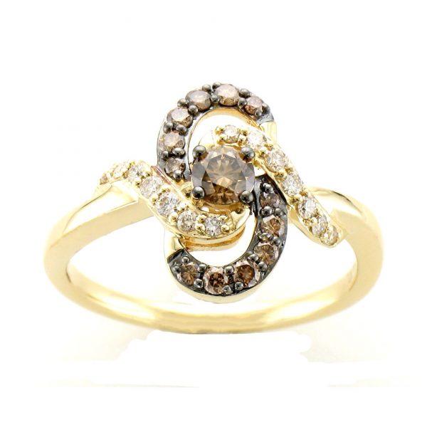 Chocolate and Vanilla Diamond® Swirl Ring by Le Vian®