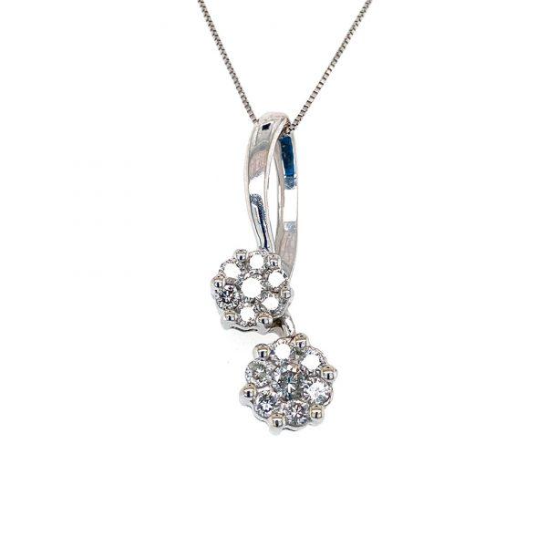 Estate Double Diamond Cluster Pendant