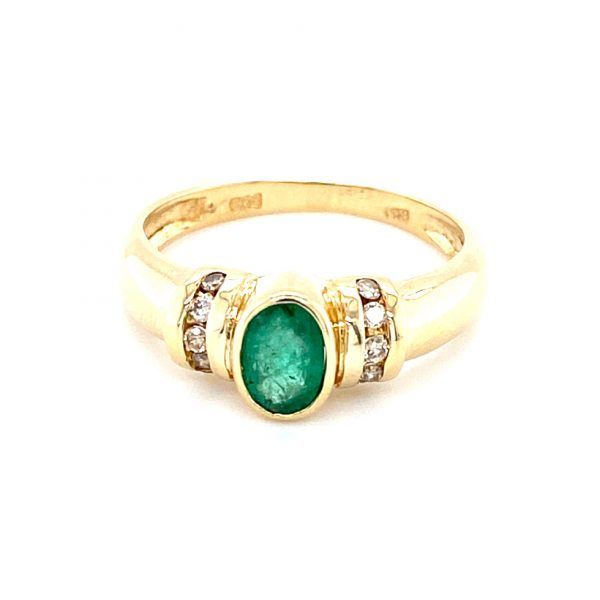 Estate Oval Emerald and Diamond Ring