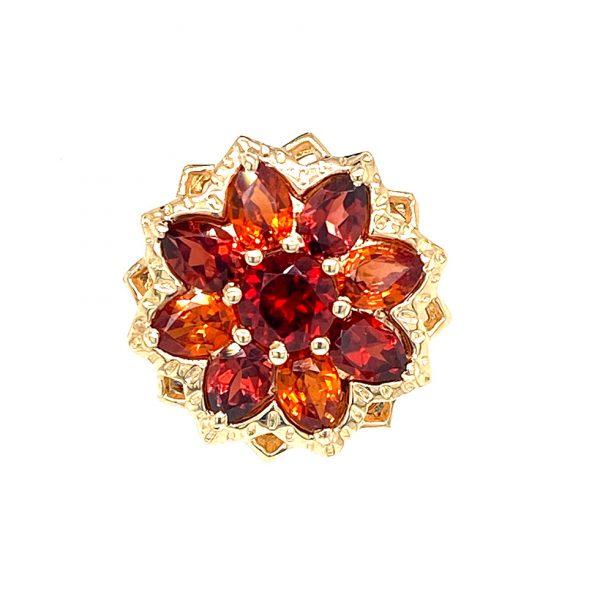 Estate Citrine and Garnet Flower Earrings