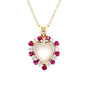 Estate Diamond and Ruby Heart Pendant