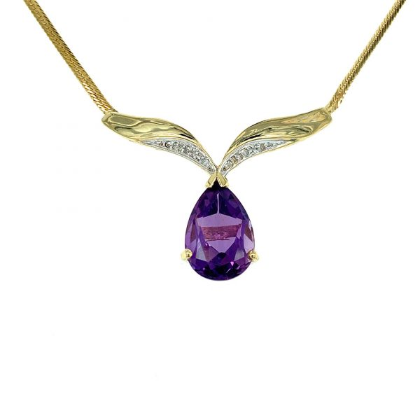 Estate Amethyst and Diamond Necklace