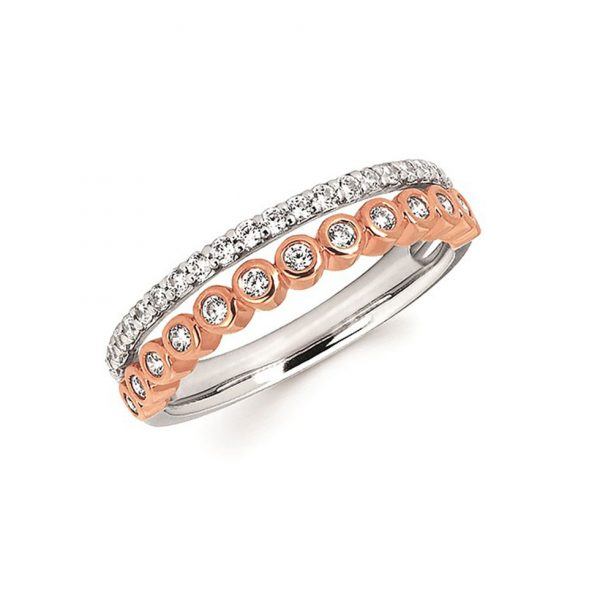 Two-tone Bezel and Shared-prong Diamond Band