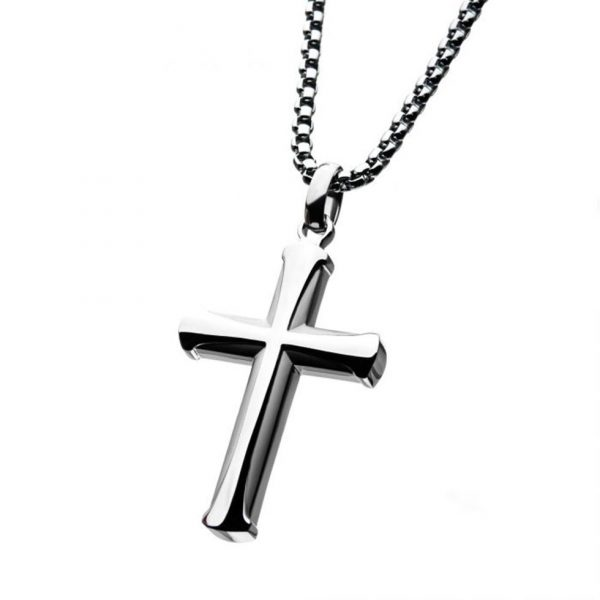 Beveled Cross Necklace by INOX