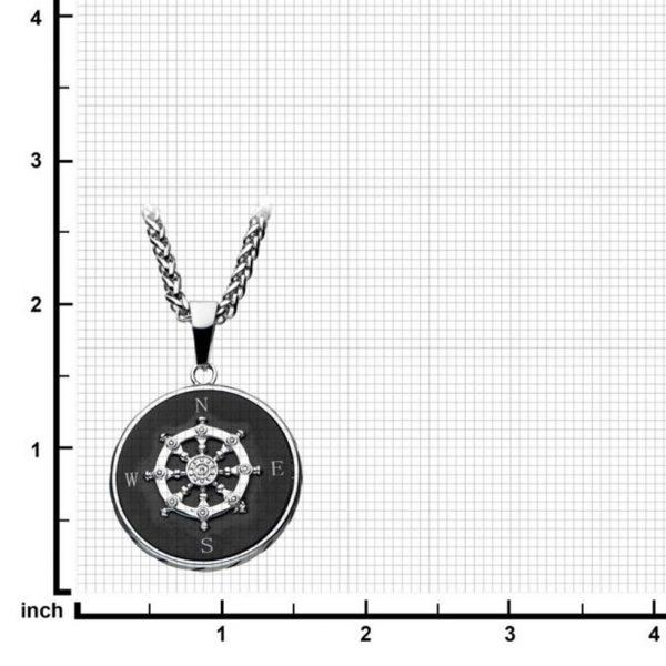 Oxidized Compass Pendant by INOX