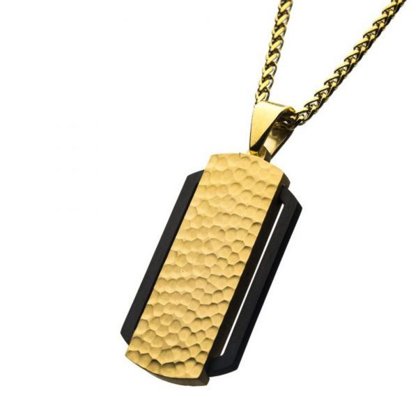 Hammered Finish Dog Tag Style Necklace