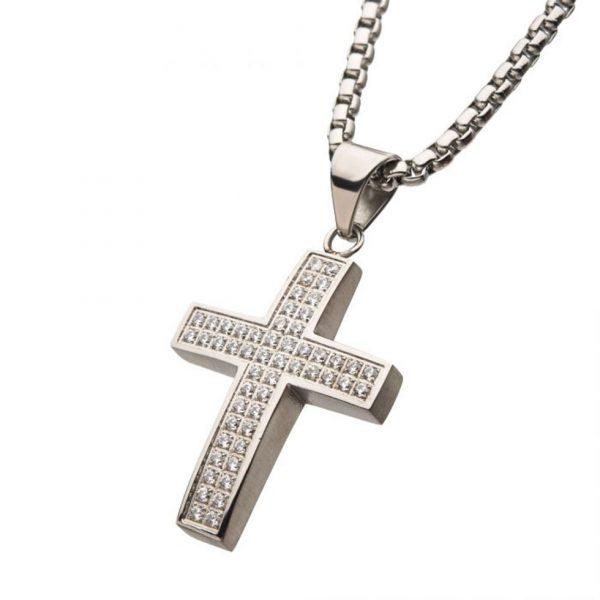 Steel Cubic Zirconia Cross Necklace