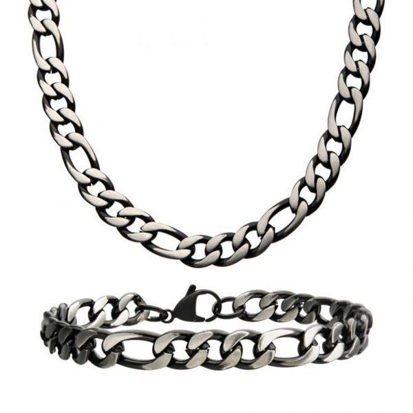 Black Figaro Brushed Link Chain Set