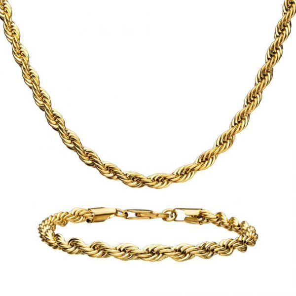Stainless Steel Gold Vermeil Rope Chain Set