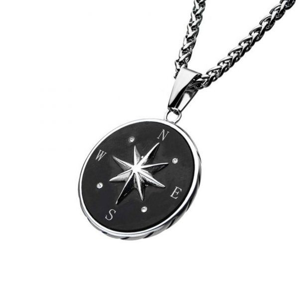 Stainless Steel Oxidized Compass Necklace