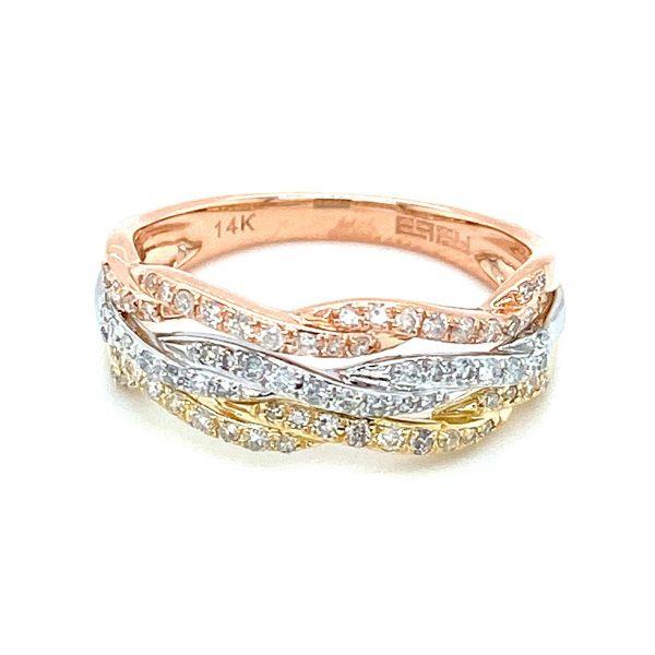 Three-tone Diamond Twist Ring by Effy