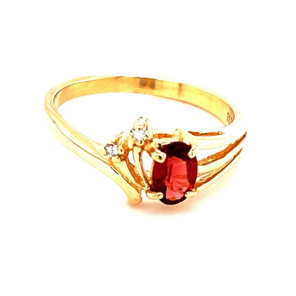 Estate Oval Garnet and Diamond Ring