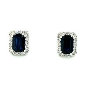 Sapphire and Diamond Halo Earrings by Effy