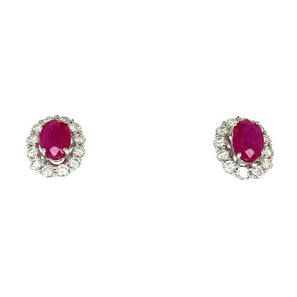 Ruby and Diamond Halo Earrings by Effy