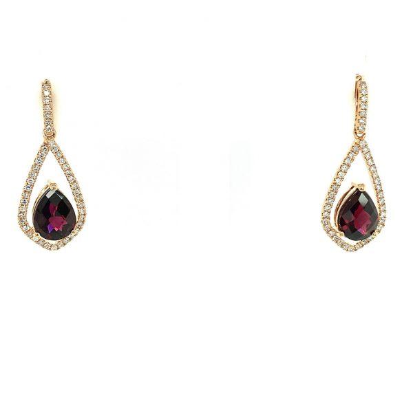 Rhodolite Garnet and Diamond Drop Earrings