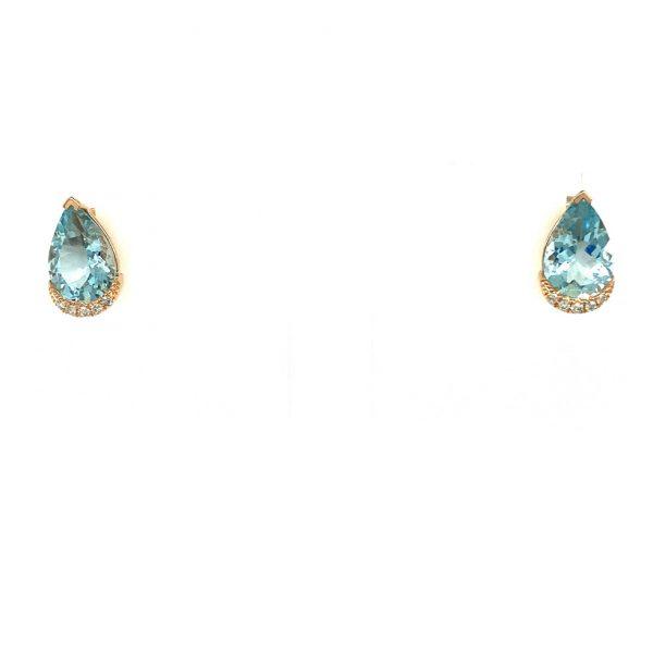 Aquamarine and Diamond Halo Earrings by Effy