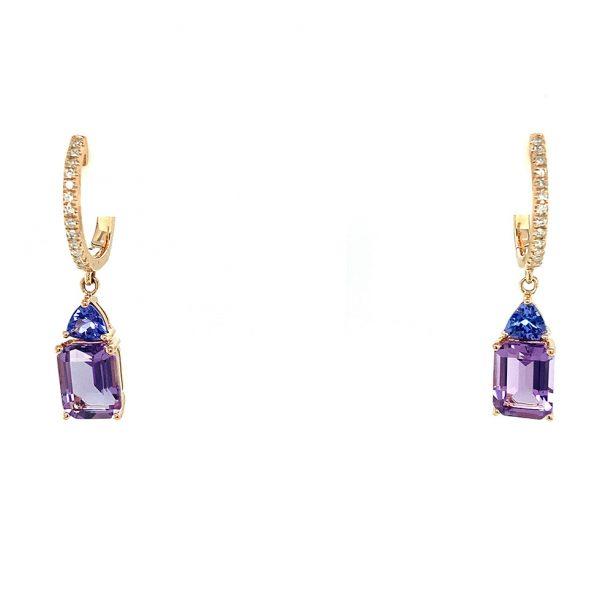 Amethyst, Tanzanite, and Diamond Drop Earrings by Effy