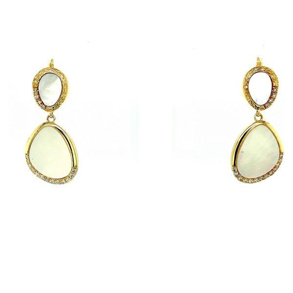 Mother of Pearl Disc Drop Earrings by Effy