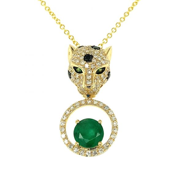 Emerald, Tsavorite, and Diamond Panther Pendant by Effy