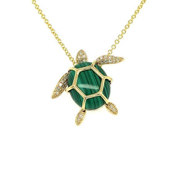 Malachite and Diamond Turtle Pendant by Effy