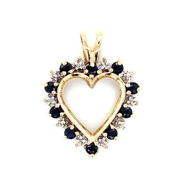 Estate Diamond and Sapphire Open Heart Pendant