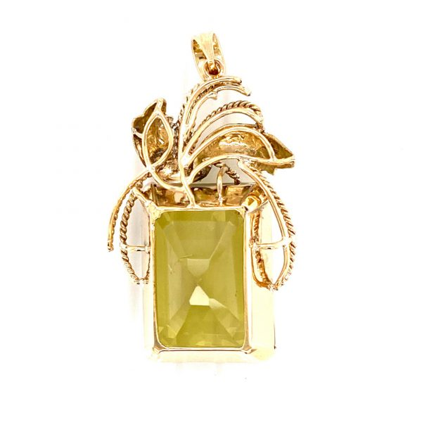 Estate Peridot Leaf Spray Pendant