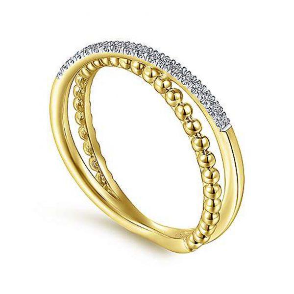 Beaded Pavé Diamond Criss Cross Ring