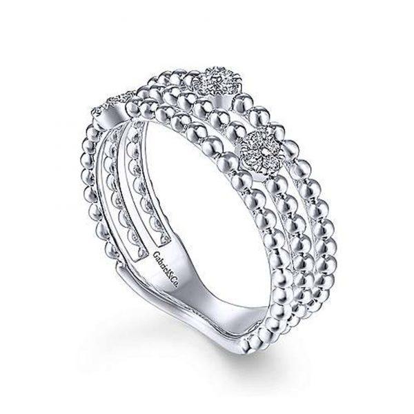 Three Row Beaded Ring with Pavé Diamond Cluster Stations