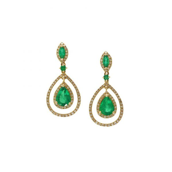 Emerald and Diamond Drop Earrings by Effy