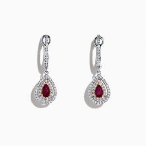 Ruby and Diamond Drop Earrings by Effy