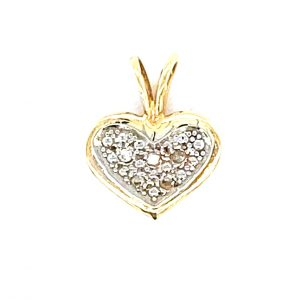 Estate Diamond Pave Hear Pendant