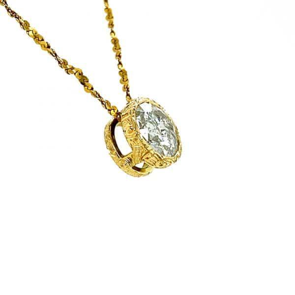 Estate Engraved Diamond Pendant