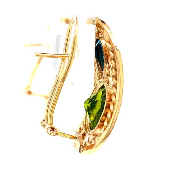 Estate Peridot and London Blue Topaz Earrings