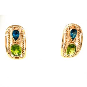 Estate Peridot and London Blue Topaz Earrings
