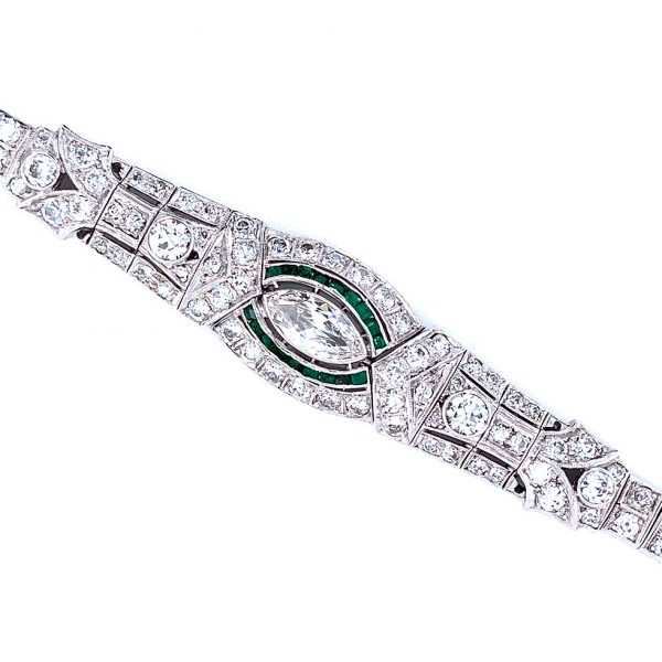 Estate Art Deco Emerald and Diamond Bracelet