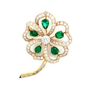 Estate Emerald and Diamond Flower Pin